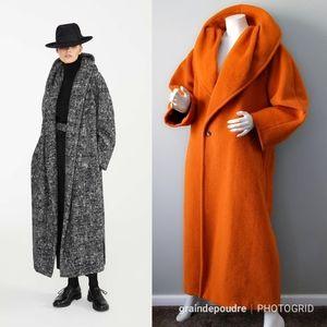 Vtg Huge Shawl Collar Pumpkin MaxMara Teddy Coat 8